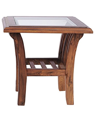 SMARVVV PRODUCTIONS Unique Rosewood in Brown Colored Glass Top Nesting Bed Side Table in Standard Size & Weight (BROWN)
