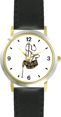 Scottish Bagpipes or Bag Pipes - Musical Instrument - Music Theme - WATCHBUDDY® DELUXE TWO-TONE THEME WATCH - Arabic Numbers - Black Leather Strap-Size-Large ( Men's Size or Jumbo Women's Size )