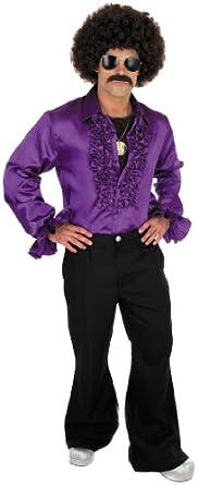 70s Ruffled Disco Shirt (Men: 42/44, Purple)