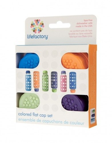 Lifefactory Flat Caps for 9oz Beverage Bottles and 9oz/4oz Baby Bottles