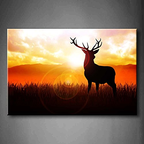 Deer Silhouette Illustration On Meadow During Sunrise Wall Art Painting Pictures Print On Canvas Animal The Picture For Home Modern Decoration (Stretched By Wooden Frame,Ready To Hang)