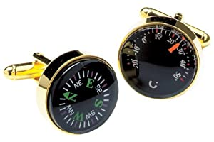 Gold plated Thermometer and compass cufflinks