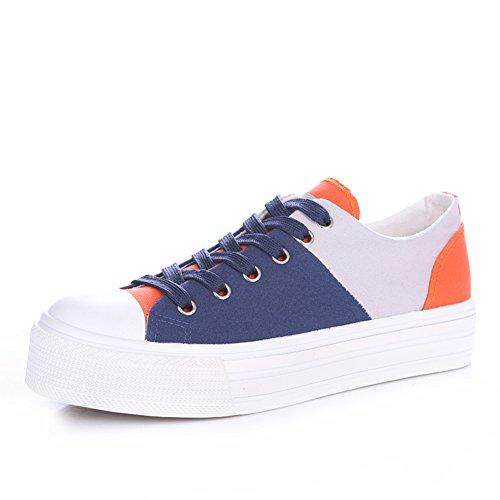 Sweet mélangé de couleurs dans les chaussures de toile d'été/Chaussures femmes plateforme semelle épaisse/Chaussures de sport air confortable et élégant