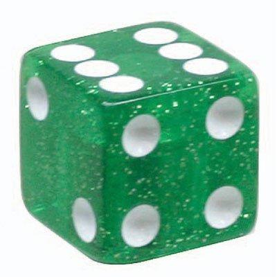 Trick Topz Dice Valve Caps Pair Green Glitter