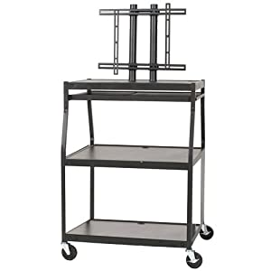 Balt Wide Body Flat Panel TV Cart with Cabinet, Black