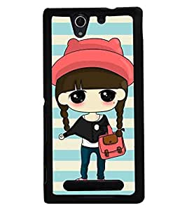 Fuson Premium Pretty Girl Metal Printed with Hard Plastic Back Case Cover for Sony Xperia C3 Dual
