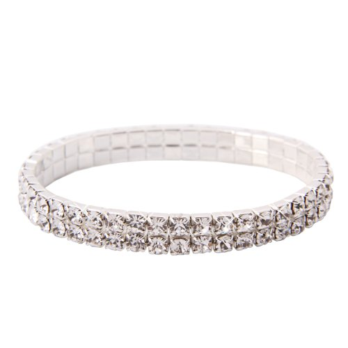 Double Tier Swarovski Element Stretch Crystal Bracelet in Sterling Silver Overlay