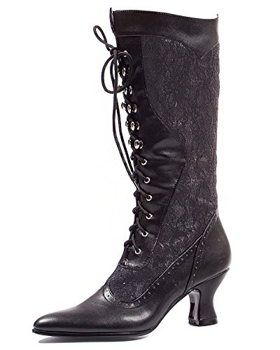 Womens Sexy Black Boots Lace Victorian Boots Mid Calf Costume Boots 2.5 Inch Hee