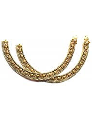 Shingar Ksvk Jewels Antique Gold Plated Payal / Pajeb / Anklet For Women (9720-payal-pearls)