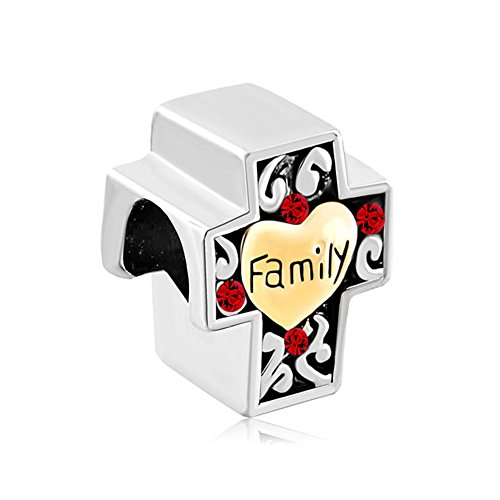 LovelyJewelry Two Tone Red Swarovski Crystal Filigree Heart Love Family On Cross Bead Fits Pandora Charms Bracelet (Pandora Red Beads compare prices)