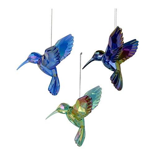 Shiny Acrylic Hummingbird Ornaments (set OF 3 Assorted)