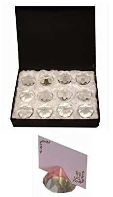 Crystal Diamond 50mm Place Card Holder 12pack N38594 by HL