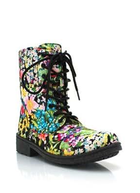 floral combat boots 5.5 BLACKMULTI