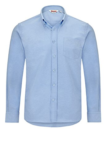 Lonsdale - Hemd Lambourn, Maglia a maniche lunghe Uomo, Blu (Hellblau), Large (Taglia Produttore: Large)