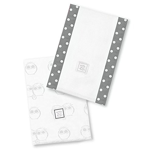SwaddleDesigns Baby Burpies, Sterling Owls (Set of 2 Burp Cloths)