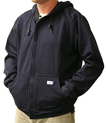 National Safety Apparel UltraSoft Fleece Hooded Sweatshirt with Plastic Zipper, 88% Cotton, 12% Nylon FR, Navy
