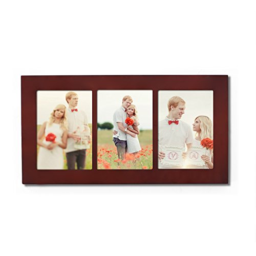 Adeco Decorative Walnut Color Wood Divided Wall Hanging Artwork Print Picture Photo Frame, 3 Opening 5x7