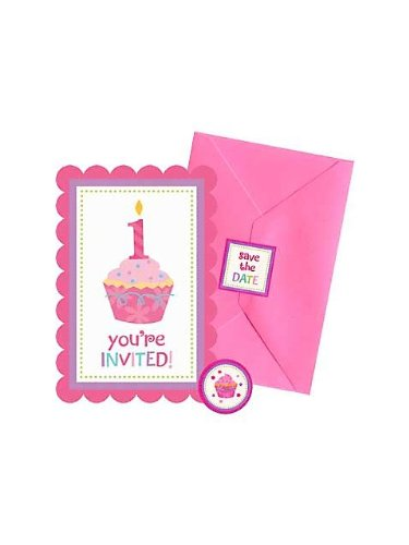 Amscan Sweet Little Cupcake Girl Postcard Invitations - 20 ct