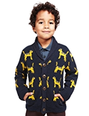 Autograph Dog Design Cardigan with Wool