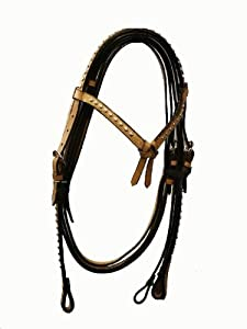 Showman Beaded Headstall with Reins, Light Leather, Great Buy!