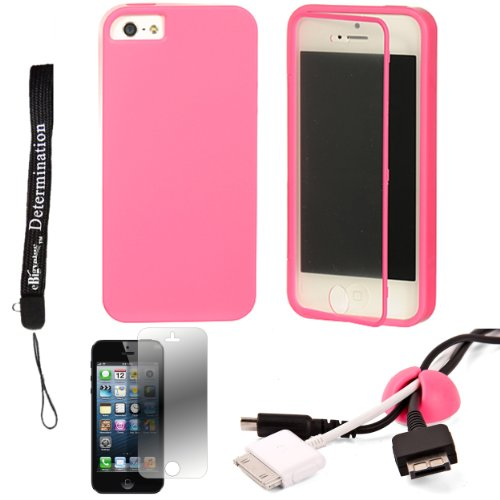 Pink Tpu Skin Cover Case With Built In Screen Protector For Apple Iphone 5 Ios (6) Smart Phone + Pink Cord Organizer + Apple Iphone 5 Screen Protector + An Ebigvalue Tm Determination Hand Strap