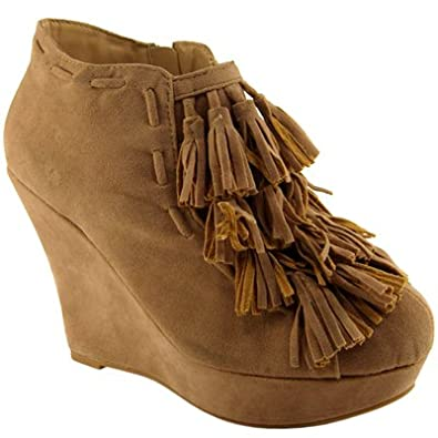 Womens High Wedge Heel Light Brown Ruffle Ankle Boots