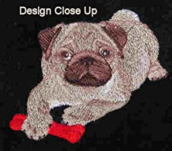 Throw with Embroidered Pug Puppy in the Corner Black