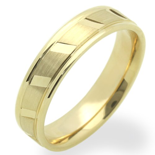 14K Yellow Gold Wedding Bands For Women 5MM Diamond-Cut Patterned Ring , Size 6.5