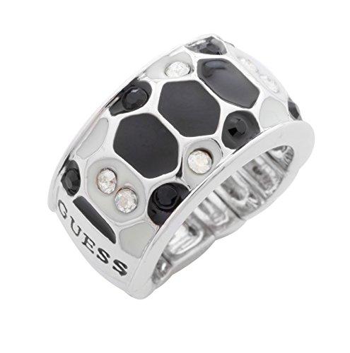 Guess-Anello donna, in acciaio, colore: argento/nero, UBR91309-S, lega, 52 (16.6), colore: Silber/Schwarz, cod. UBR91309-L