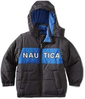 Nautica Little Boys' Nautica Bubble Jacket, Deep Black,L(7)