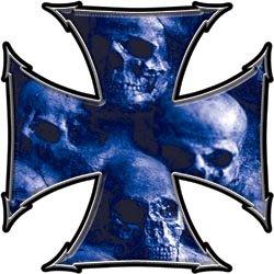 Maltese Cross Decal Skull Blue - 16