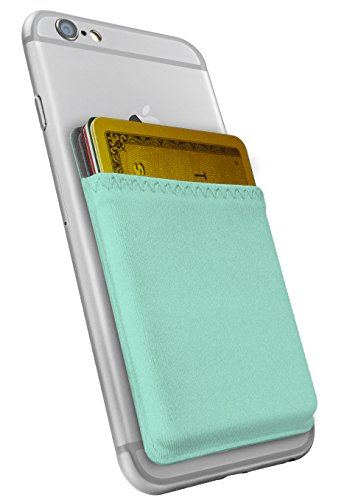silk-stick-on-phone-wallet-sidecar-slim-expandable-credit-card-pocket-fits-iphone-and-android-mint-g