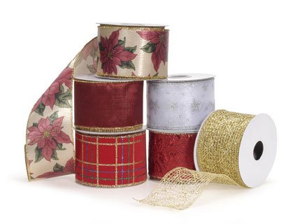 12 Assorted Christmas Wire Edge Ribbon Rolls 2.5