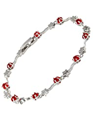 Women Gift Jewelry Star Cut Red Ruby Stone White Gold Plated Bracelet