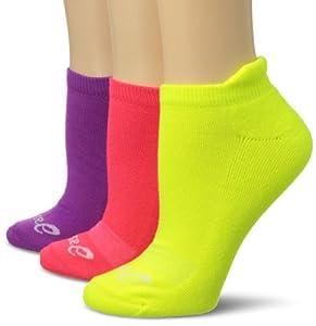 ASICS Women's Cushion Low Cut Socks (3-Pack), Purple Pop Assorted, Medium