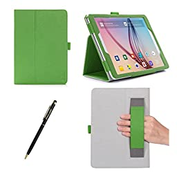 ProCase Samsung Galaxy Tab S2 9.7 Case - Stand Folio Cover Case for 2015 Galaxy Tab S2 Tablet (9.7 inch, SM-T810 / T815), with Hand Strap, auto Sleep/Wake (Green)