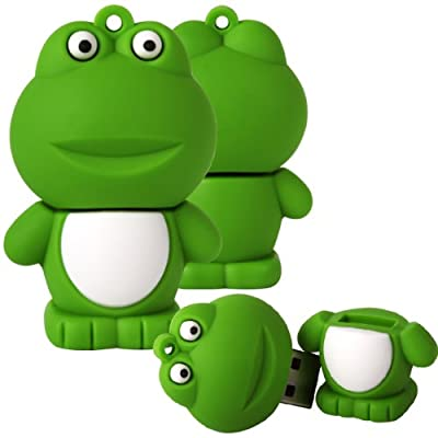 Shop4 8GB Green / White Cute Frog Shape Novelty USB Data Memory Stick Storage Device with Key Chain by Shop4accessories