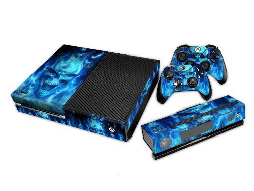 Xbox-One-Skin-Sticker-X1-Decal-Custom-Protective-Stickers-Xbox-1-Modded-Game-Accessories-Console-Kinect-Sensor-Vinyl-Case-Skins-and-2-Wireless-Remote-Controllers-Blue-Fire-Skull-by-GameXcel-