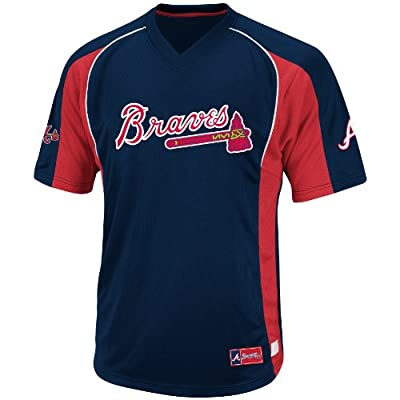 MLB Atlanta Braves Men's True Winner Crew Polo, Navy/Red