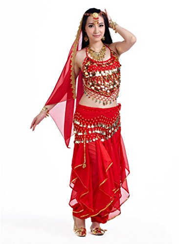 Dreamspell Womens Red Indian Style 5pcs Dancing Suit, Belly Dance Costumes