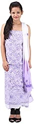RV's Collection Women's Cotton Unstitched Salwar Suit Piece (White And Lavender, RB-5)
