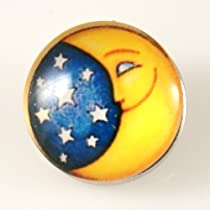 Chunk Snap Charm Moon Stars Glass Cover 18 mm
