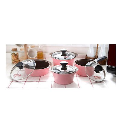 Kitchenart Ceramic Cooking Pots Pink Casserole Saucepan Opera Compact 8pcs Set Fast Ship