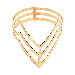 Clot Evil Women\'s Punk Rock Style Triangle Hollowed-out Open Armlet (Gold-tone)