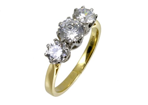 9ct Yellow Gold Cubic Zirconia Three Stone Ladies' Ring Size N