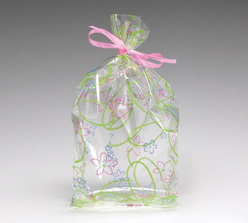 (10) Spring Blooms Flower Cello Birthday Baby Shower Favor Gift Bag 7x3x2