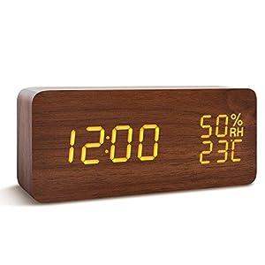 目覚し時計 大音量 デジタル 置き時計 FIBISONIC アラーム LED 多機能 (ブラウン・オレンジ字)
