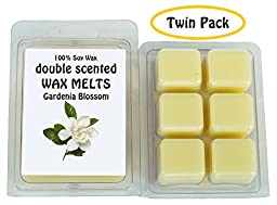 Gardenia Blossom DOUBLE SCENTED SOY WAX MELTS - WAX TARTS (Twin Pack-6.5oz). The Sweet Floral, Silky Aroma of Fresh Gardenia Flowers
