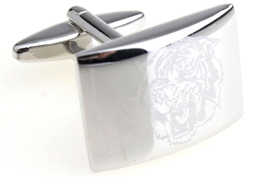 MFYS Men's Jewelry Steel the Tiger Novelty Cufflinks