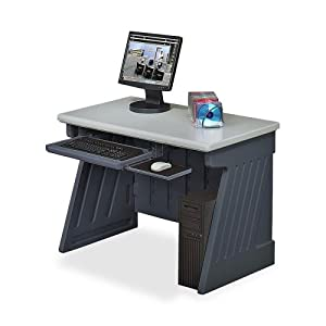 "Iceberg SnapEase Computer Desk - Rectangle - 24.50"" x 42"" x 30.0"" - Resinite - Charcoal Gray Base, Silver Top"
